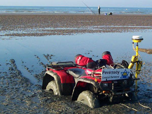The beach is regularly surveyed using a GPS receiver mounted on a quad bike.